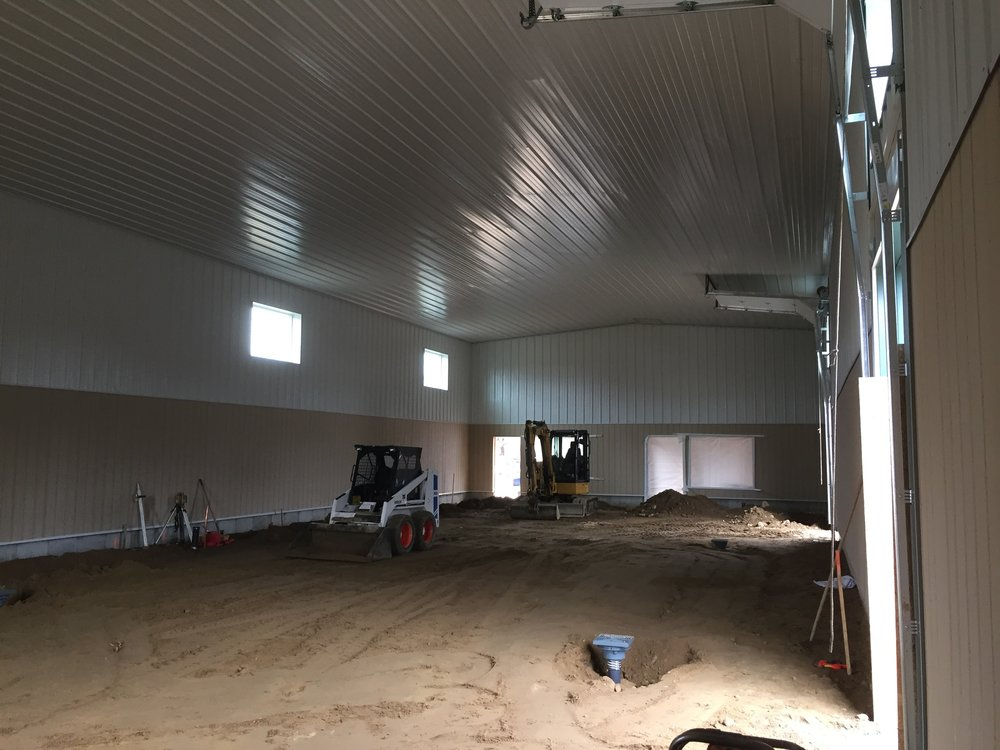 March 29, 2017: Interior of the production building almost ready for concrete.
