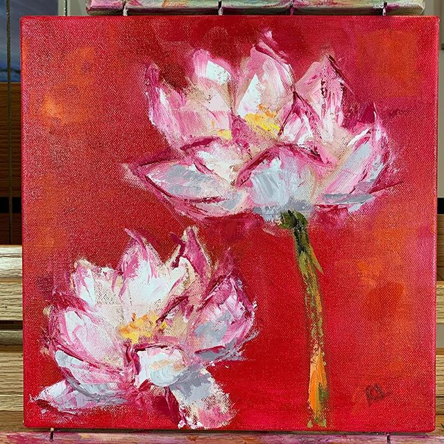 Divine Love 12 x 12  Back in the studio at last! Making friends with my creativity... #art #oilpainting #artforsale #flowers #fineart #lotusflower #floral #love #beautiful #westportartist #spiritualartist