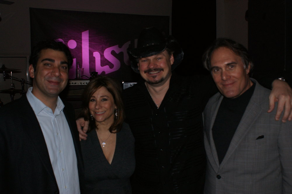 Brandon Bakshi (BMI London), Diane Delena (River Run Records Label Head), Charlie Allen (River Run Records Recording Artist) and Preston Gibson Showcase Room, London 2009 .JPG
