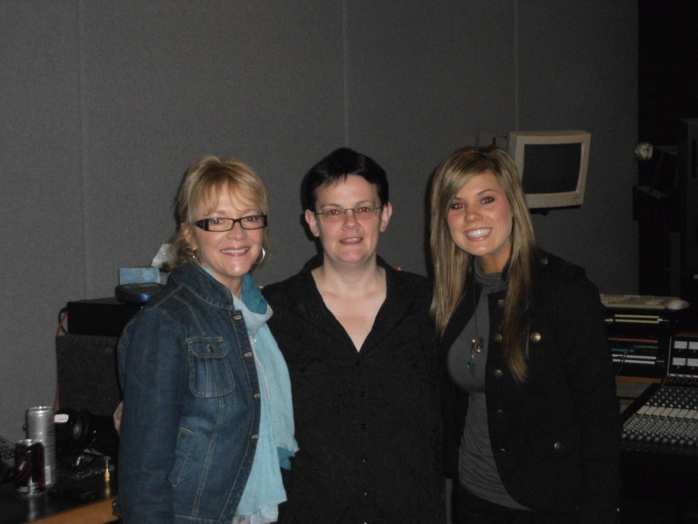 Ramona E. Simmons, Claudia Becker, and recording Artist Hope Nix at Omni Sound Studios, Nashville 2011.JPG