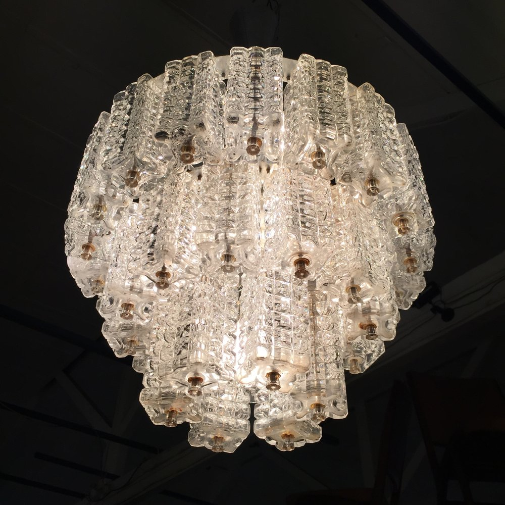 3 TIERED CRYSTAL CHANDELIER BY ORREFORS