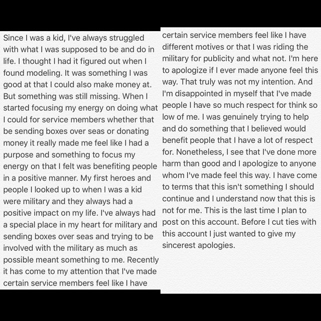 Just an explanation for why I'll be discontinuing this account as well as my other social medias. And I truly apologize as I never meant any harm to anyone.
