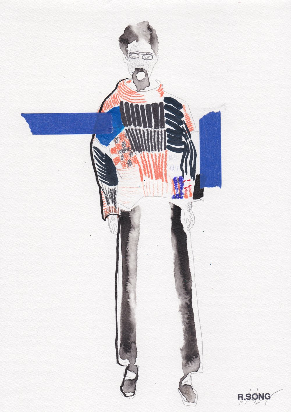 Eckhaus Latta F/W 2016 RTW Indian Ink, Graphite, Prismacolour Pencils, Marker and Washi tape on Watercolour paper