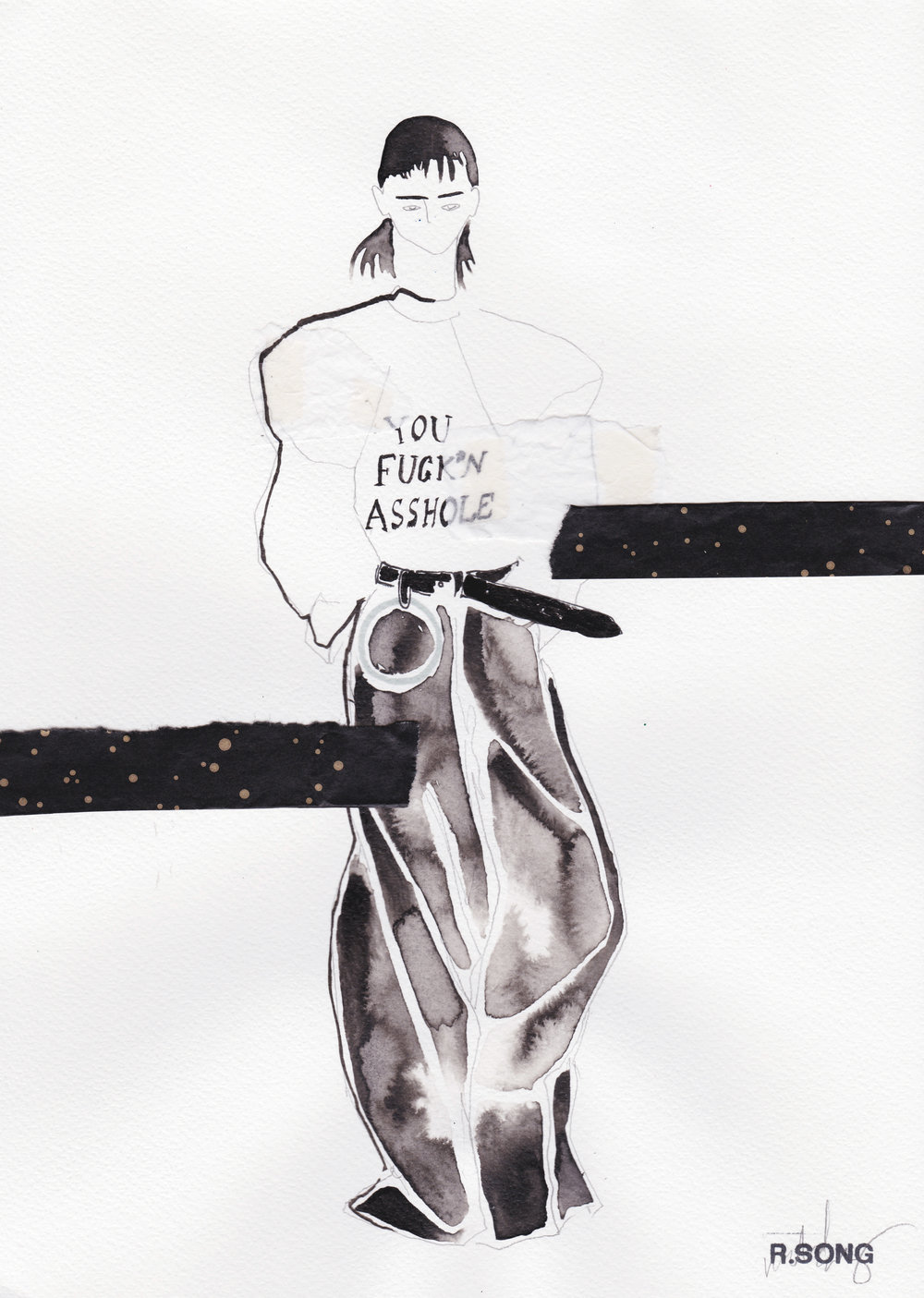 Vetements F/W 2016 Indian Ink, Marker, graphite, Crepe and Wrapping paper on Watercolour paper