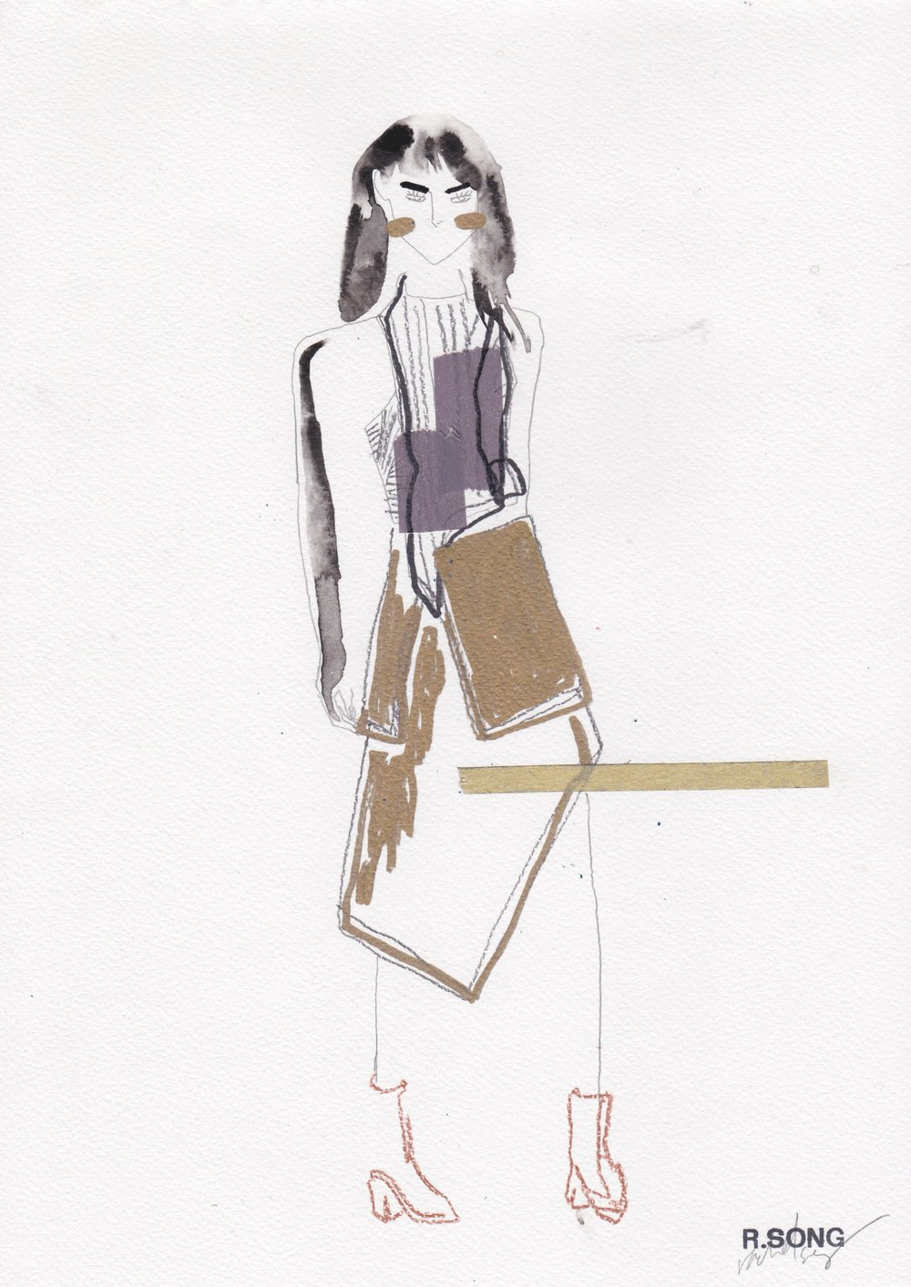 Eckhaus Latta F/W RTW 2016 Indian Ink, Graphite, Gold marker, Prismacolour pencils and Washi tape on Watercolour paper