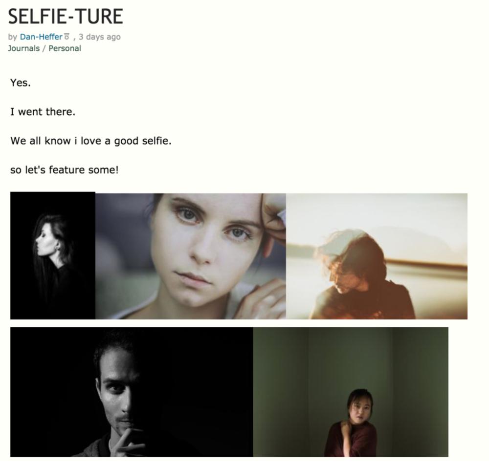 SELFIE-TURE Feature by Dan Heffer on Deviant Art 2016  http://dan-heffer.deviantart.com/journal/SELFIE-TURE-641552696