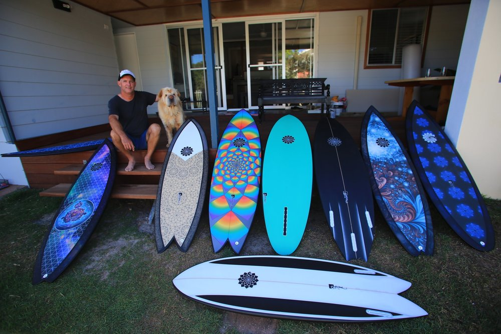 """A quiver and a dog. Gary has both. Photo: Simon """"Swilly"""" Williams"""
