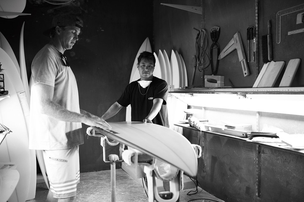 Jamie O and Wade in the Shaping Bay. Photo: Ryan Foley