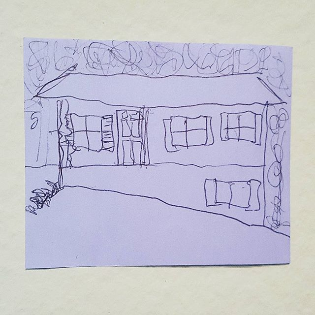 014: I drew this picture of my new living arrangement while in the car on the way to Baton Rouge for @cropbr! It was a wiggly car ride. #100daysofstickynotesketches #100dayproject