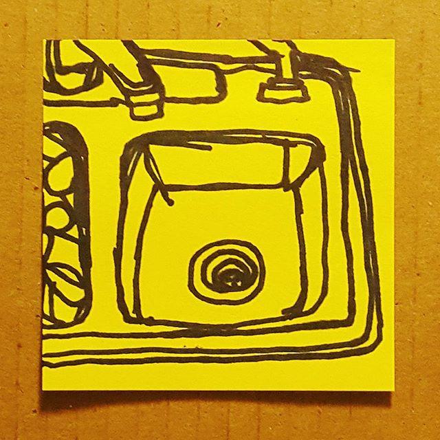 021: I started JSU's MFA program a week ago. I drew my sink to commemorate. #why #idk  #100daysofstickynotesketches