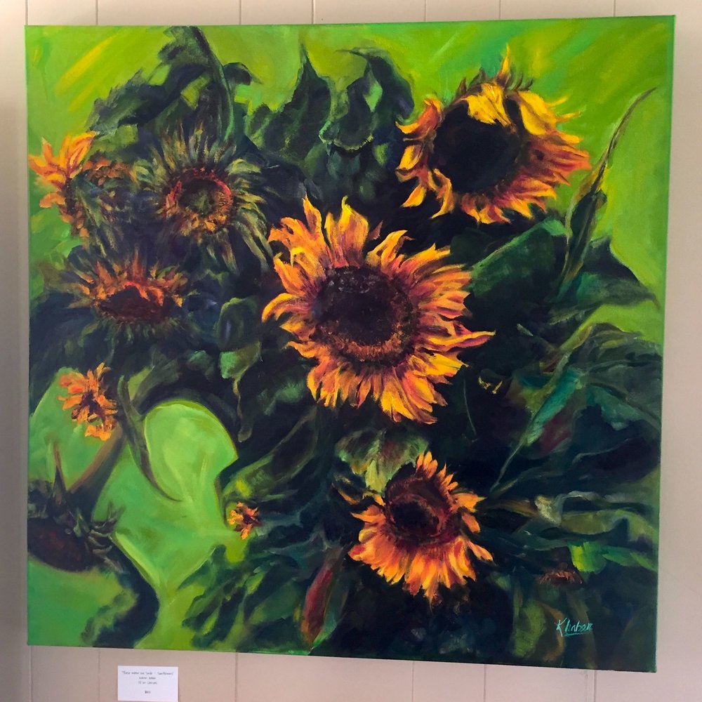 sunflower oil painting by Karen Haber