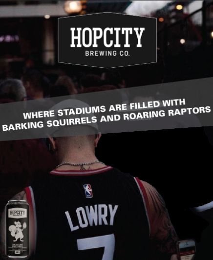 - HOP CITY'S ICONIC BARKING SQUIRREL LAGER.TORONTO'S ICONIC RAPTORS.