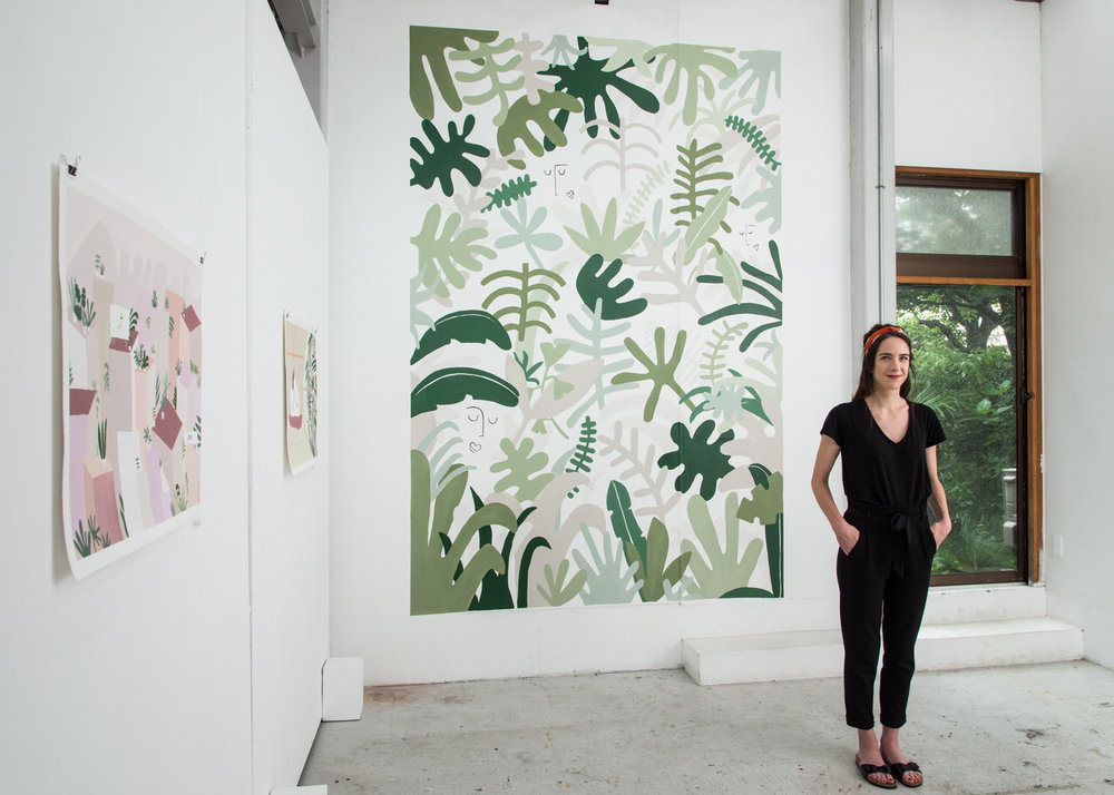 Me and my illustrated wall at my studio in TOKYO - Art residency at YOUKOBO ART SPACE 2018. Image © Masaru Yanagiba