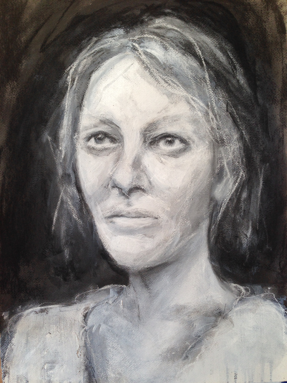 Self portrait.  High key face, charcoal, conte, ink and acrylic on watercolour paper