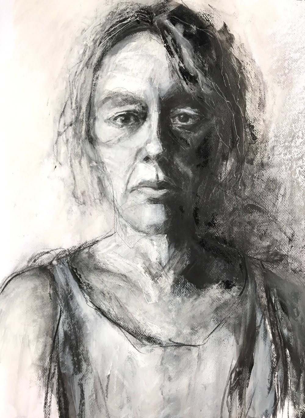 Self-portrait. Taking it further, charcoal, conte, ink and acrylic on watercolour paper