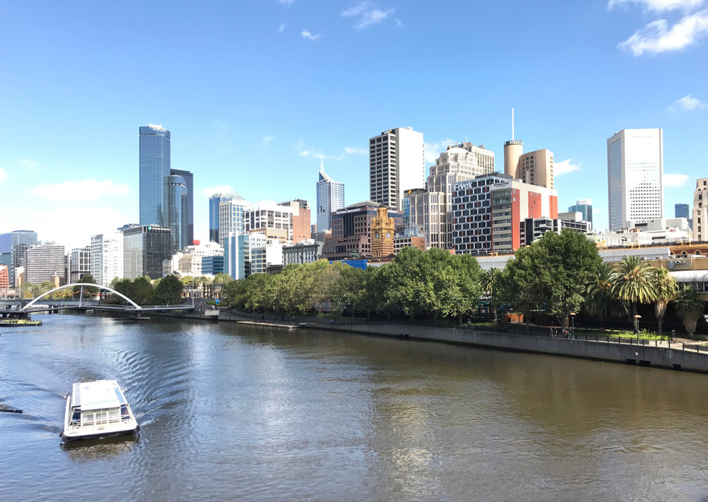 Across the Yarra River to the western end of the city