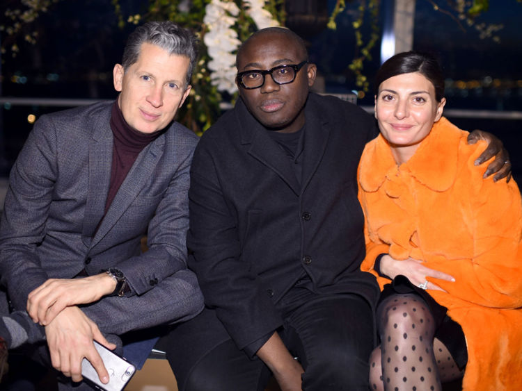 (Left to Right) Stefano Tonchi, Edward Enninful and Giovanna Battaglia at NY Fashion Week
