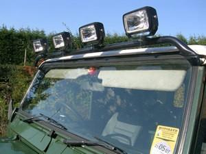 Land rover lights and lightbars lro defender and series light bar with rectangular lights aloadofball Choice Image