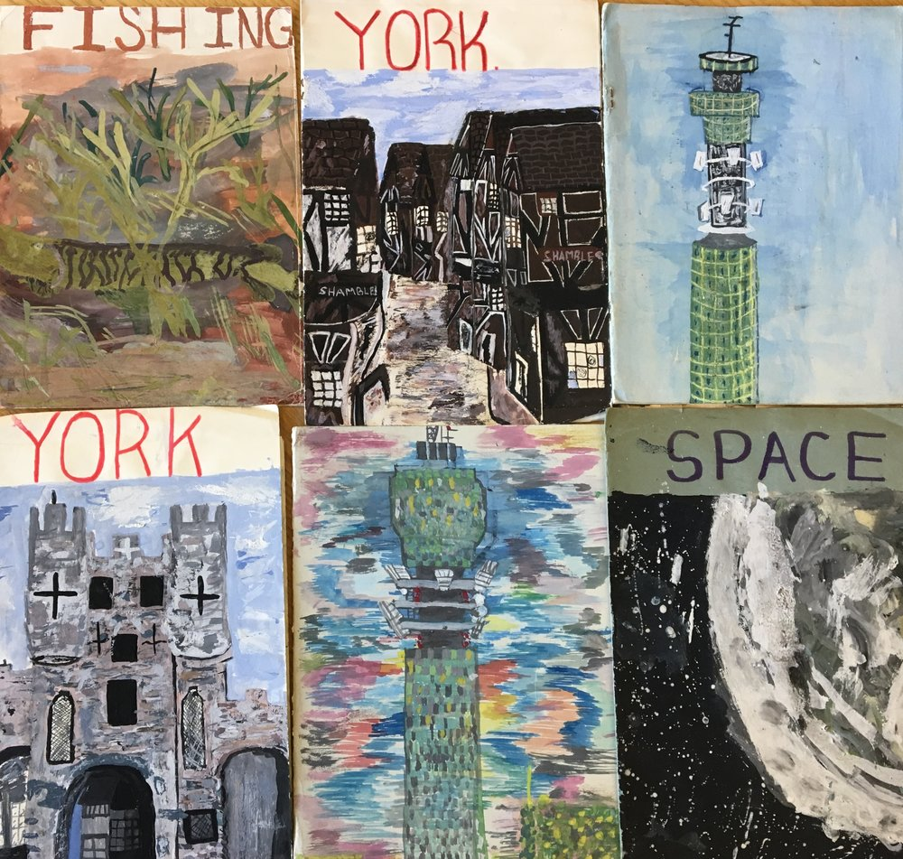Six book covers produced by pupils from Muriel Pyrah's class at Airedale School, Castleford, Yorkshire, after they had embarked on school trips in the early 1970s (Courtesy of National Arts Education Archive).