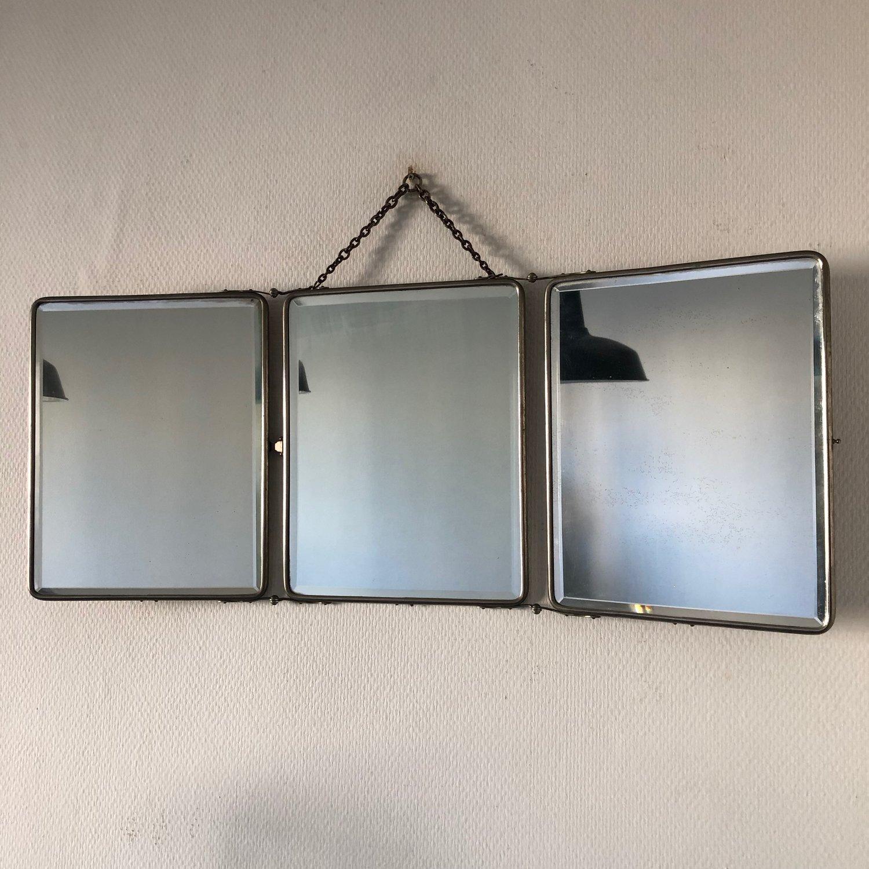 Miroir triptyque barbier nickelé vintage 18 18x18cm — Jolie