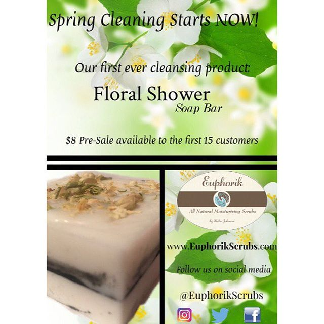 Spring came a little early! 🌼 Our first ever cleansing product is officially here: Floral Shower Soap Bar with Activated Charcoal and topped with Jasmine flowers Pre-Sale price available for $8 to the FIRST 15 customers only!  www.EuphorikScrubs.com •• •• •• #Euphorik #EuphorikScrubs #Natural #naturalskincare #naturaskincareproducts #organicskincare #organicskincareproducts #organic #soap #springsale #smallbusiness #blackownedbusiness #blackowned #blackgirlmagic #skincareroutine #activatedcharcoal