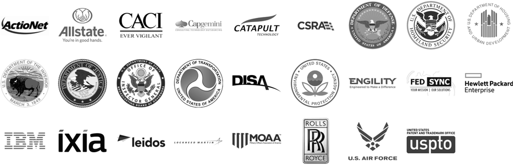 Logos for ActioNet, Allstate, CACI, Capgemini, Catapult Technology, CSRA, US Department of Defense, US Department of Homeland Security, US Department of Housing and Urban Development, US Department of the Interior, US Department of Justice, Office of Inspector General (US Department of State), US Department of Transportation, DISA, US Environmental Protection Agency, Engility, FEDSYNC, Hewlett Packard Enterprise, IBM, Ixia, Leidos, Lockheed Martin, MOAA, Rolls Royce, US Air Force, and USPTO.