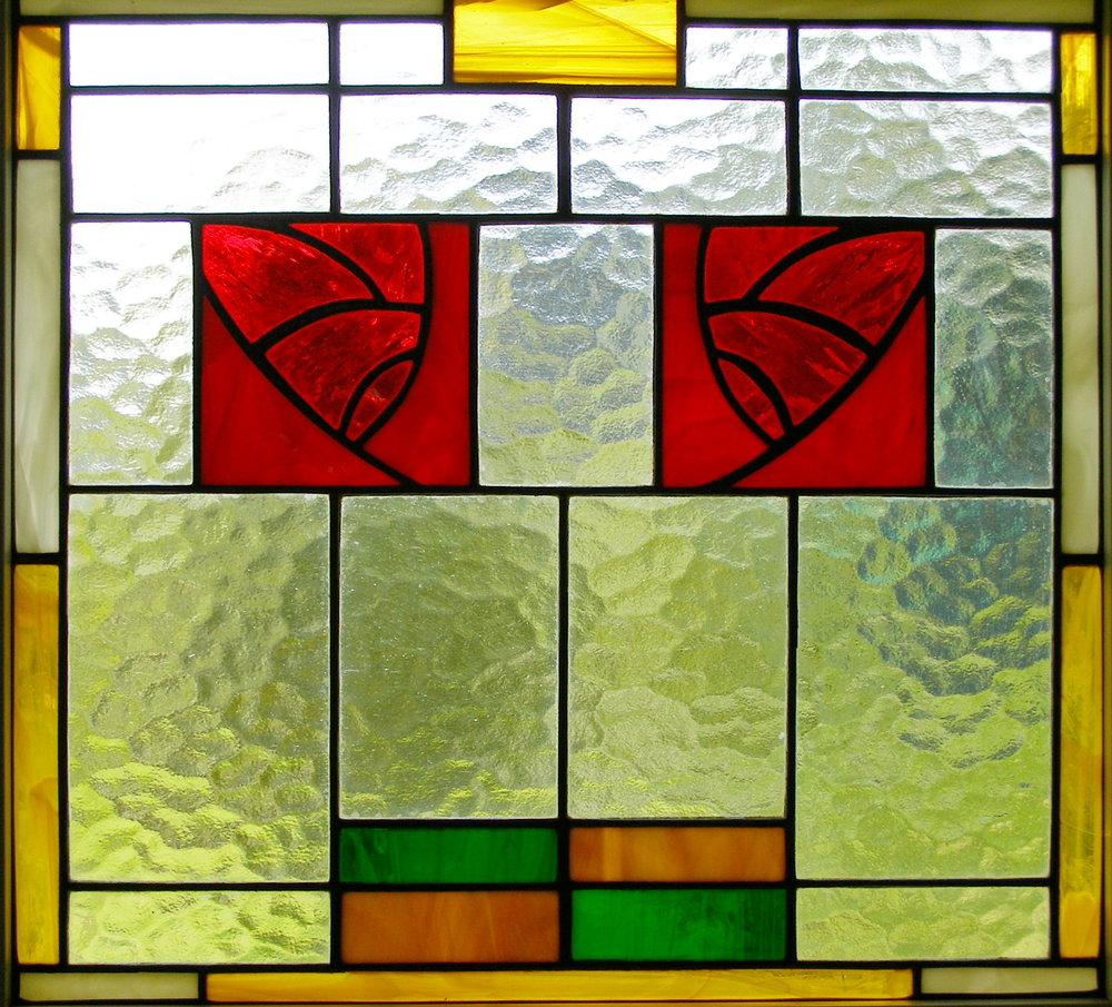 stained glass art nouveau windows made by Aunchan & Charles Sands