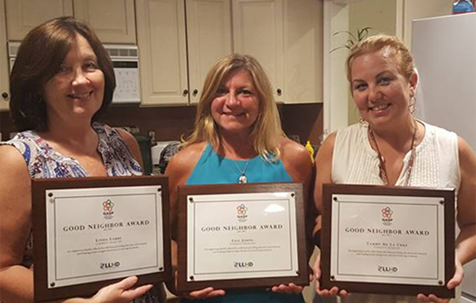 CSO co-founders Linda Labbe, Lisa Cote Johns, and Tammy de la Cruz (L-R) receive the   Good Neighbor Awar  d   from the Groton Alliance for Substance Abuse Prevention (GASP)