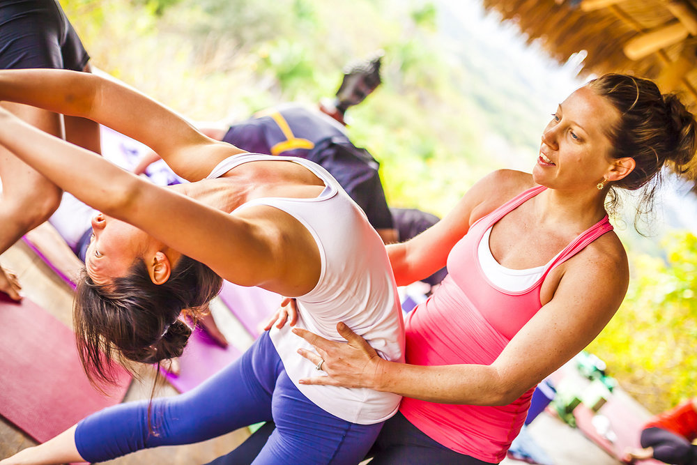 Alison Adams from Homegrown Power Yoga Assisting at Haramara Mexico yoga retreat