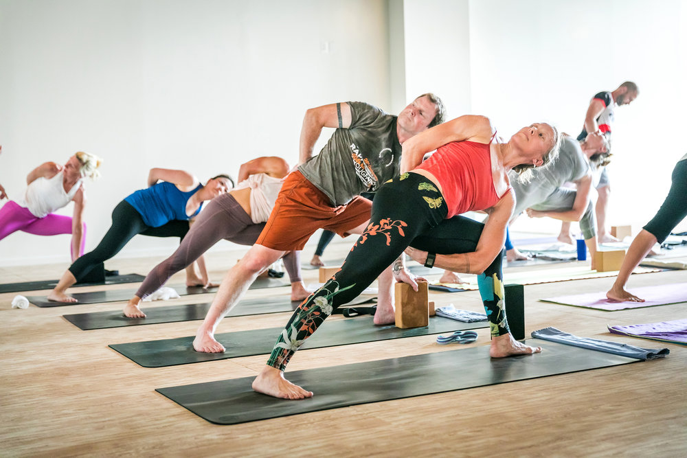 Students in Homegerown Power Yoga heated studio