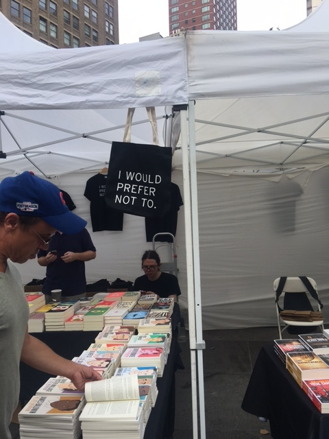 """I would prefer not to,"" the immortal words of Bartleby the Scrivener, featured at the Melville House booth."