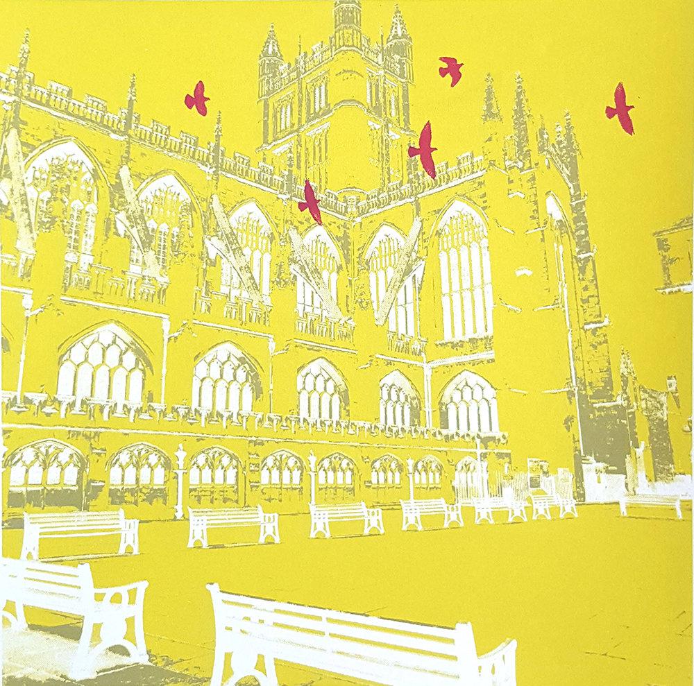 Bath Abbey. Screen print by Heidi Laughton