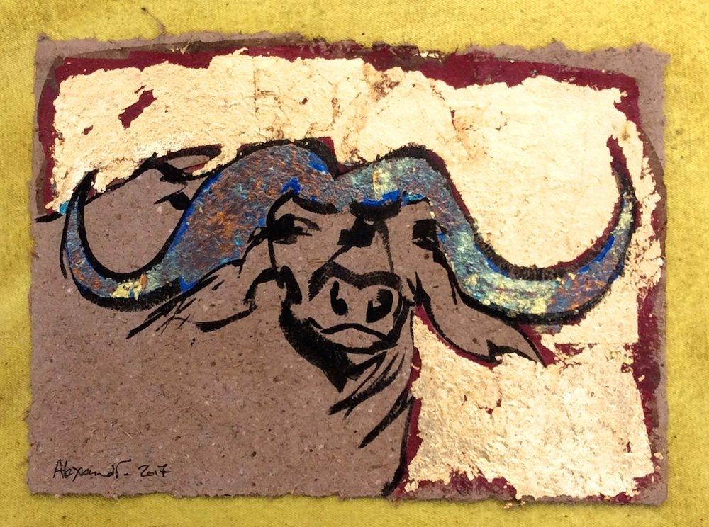 Buffalo Fun (on elephant dung paper) by Alexandra Spyratos