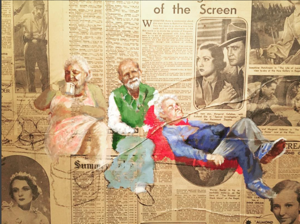 Portraits on newspaper by Suman Kaur