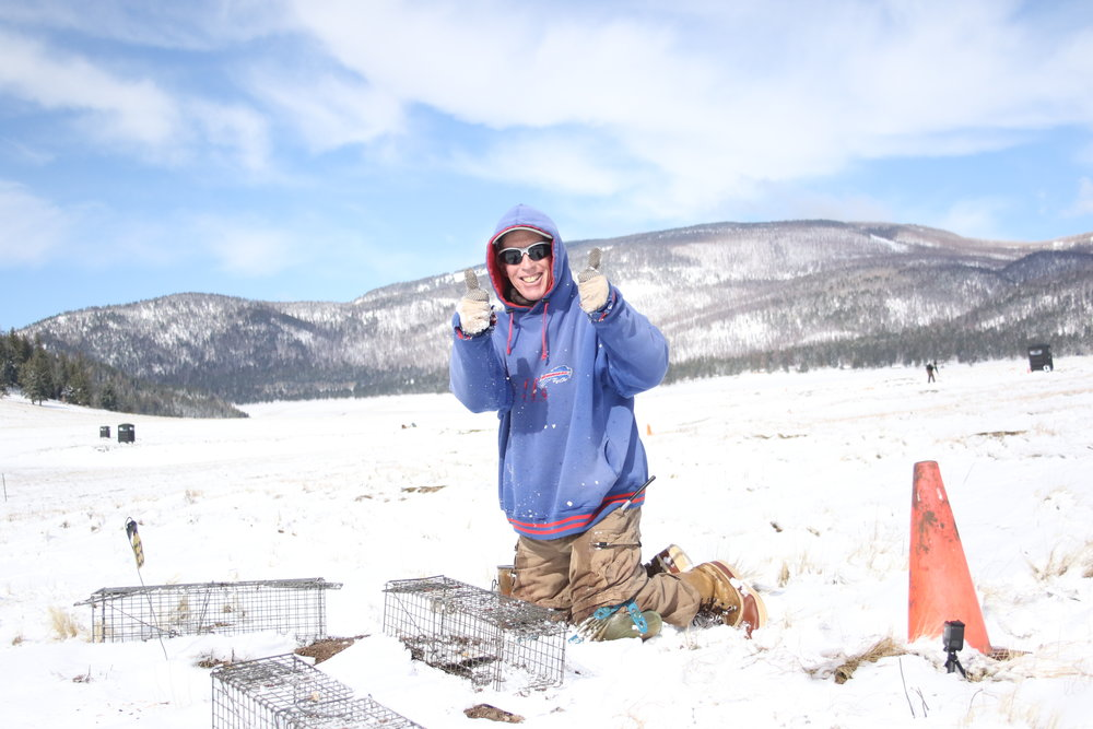 John pauses to pose for the camera as he shakes snow from traps.  ©MRR 2017