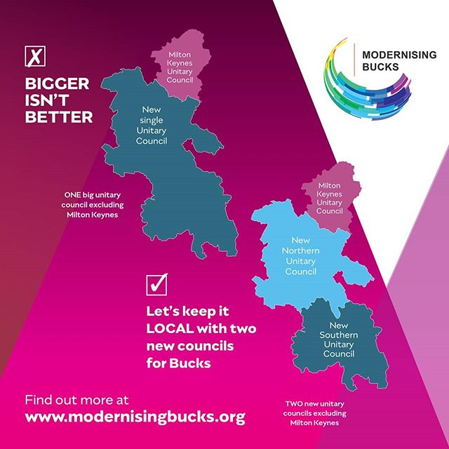 🔹️ MORE LOCAL 🔹️ BETTER OPPORTUNITIES 🔹️ MORE EFFECRIVE 🔹️ BEST VALUE 🔹️ We believe two new all purpose (unitary) councils will be best for Buckinghamshire residents. Find out more www.modernisingbucks.org  #modernisingbucks #unitary #unitaries