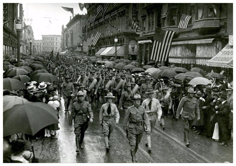 World War I era soldiers marching on Broadway, Troy, 1917.