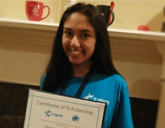 Mississippi Aspirations in Computing winner Rimika was part of the winning team at the 2017 C Spire's Coding Challenge! Her team won a $12,000 first place award!