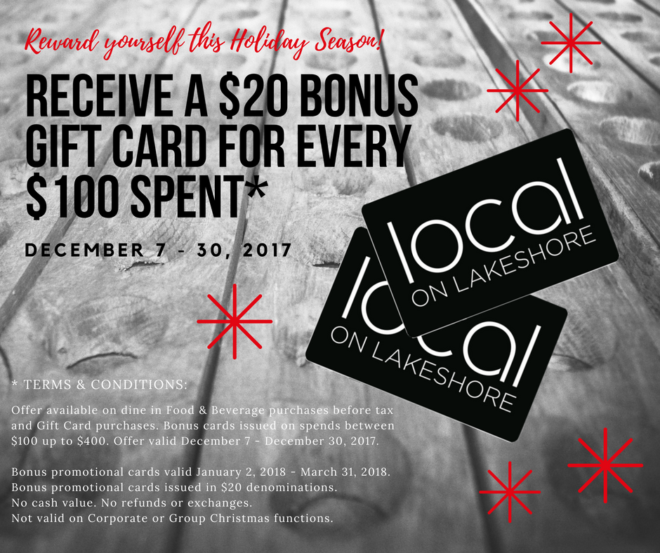 bonus gift card promotion december 7 30 2017 local on lakeshore - Christmas Gift Card Deals