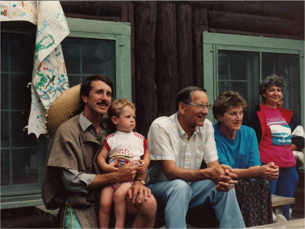 Bob & Eric Stover, Don & Trudy Sjoberg, Jean Hunter 1990 MExican Night.jpg