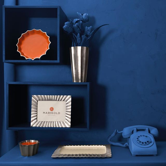 Fluted Collection  with Rotary Phone  #Pictureframe #candles #vase #tray #rotaryphone #picassoblue #design #home #modernart