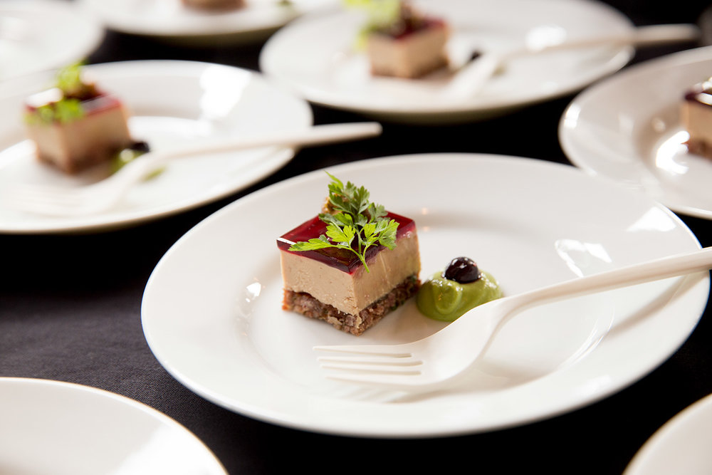 Hudson Valley Foie Gras Terrine w/ duck confit crust, Cascade huckleberry gelée, and candied pistachio by Chef Shaun McCrain - Copine