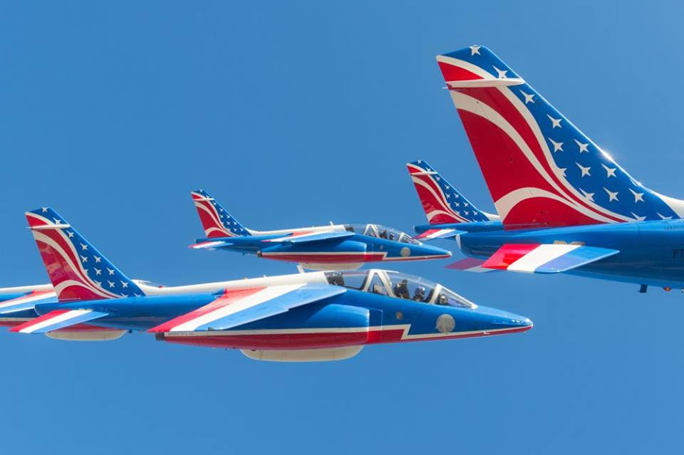 The Patrouille de France will wear the American colors for this exceptionnal occasion.