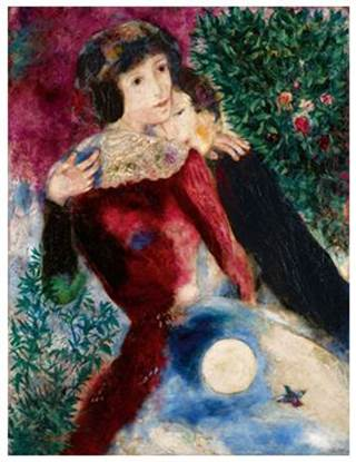 "Marc Chagall, ""Les Amoureux,"" 1928. Oil on canvas. Estimate: US$12- 18 million.  (Courtesy: Sotheby's )"