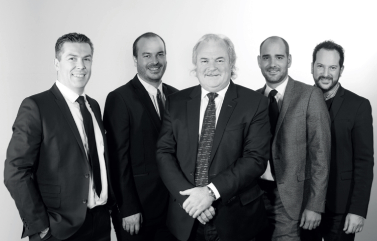 Cédric Gomez-Montiel, General Manager,  Maxime Herbelin , Marketing Manager, Pierre-Michel Herbelin, C.E.O, Benjamin Theurillat, Export Manager,  Mathieu Herbelin , Design Manager.