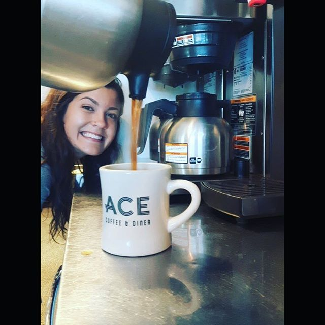 Come grab a morning coffee with one of our favourite baristas @ellymckerlie (who may have had too much coffee today) #alwaysawesome #eatlocalyyc #acecoffee #coffeefordays #goodeats #latte #philandsebastian #morningcoffee ☕️
