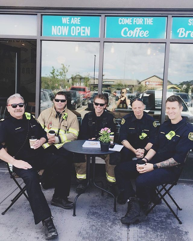 Some dashing Calgary firefighters enjoying a few coffees at @acecoffeediner during a well deserved break!🔥☕️