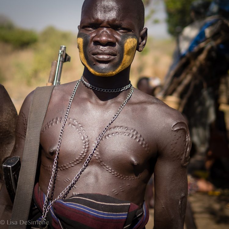 Scarification on Mursi tribesman