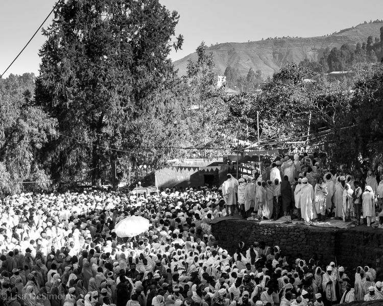 Pilgrims listening to a sermon in the holy town of Lalibela