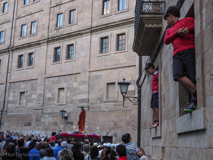 everyone wants a view of the processions!